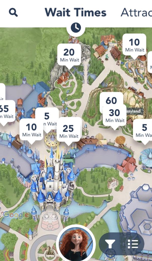 Wait times for rides at the Magic Kingdom at Disney World