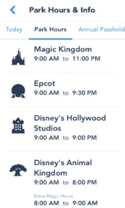 My Disney Experience app Park Information