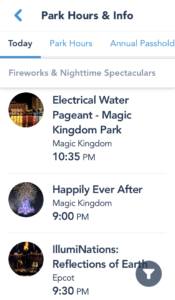 My Disney Experience Park Information