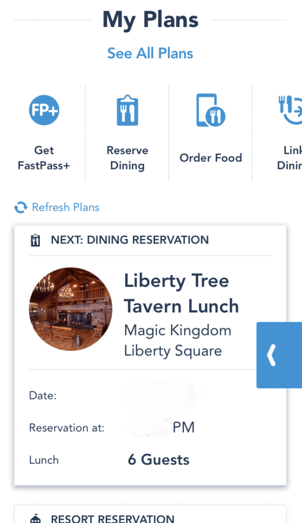 The My Plans section of the My Disney Experience app allows you to access your reservations