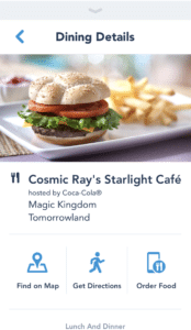 Mobile Food Ordering on My Disney Experience