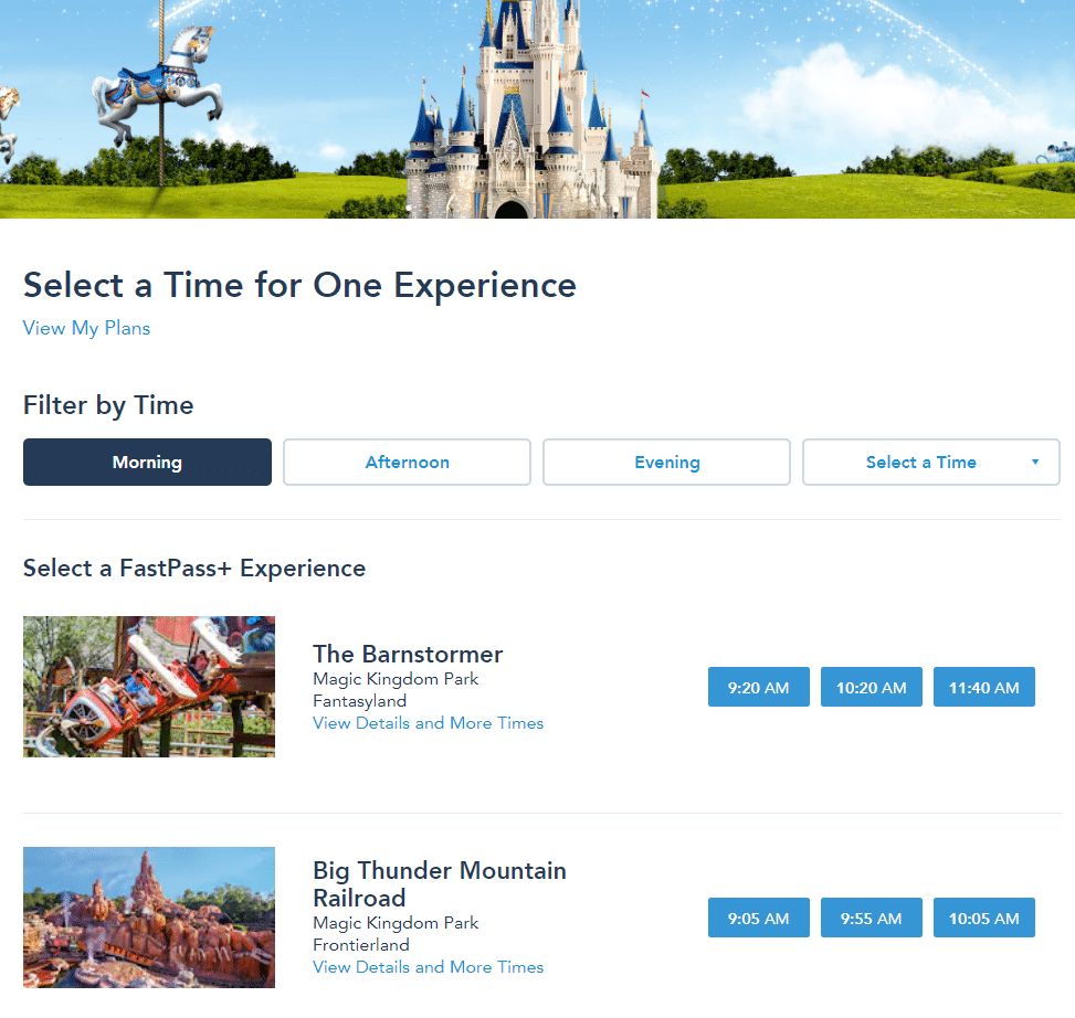 Selecting fastpasses for Disney World on the My Disney Experience website