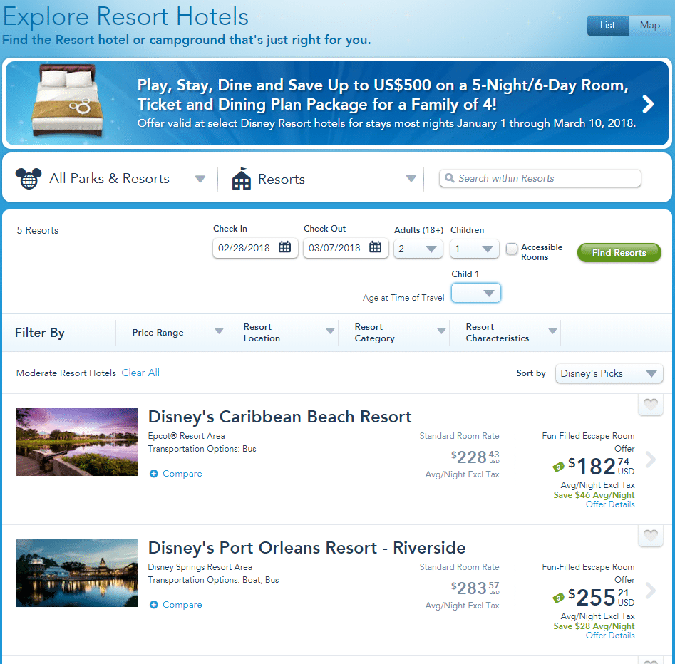A screenshot of the My Disney Experience app when booking a Disney hotel.