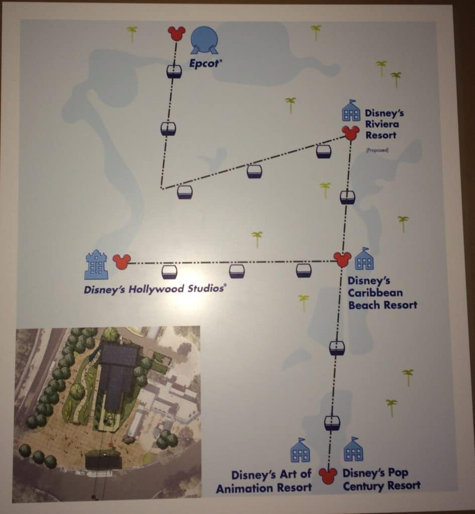 An overview look at the route for the Disney Skyliner Gondolas