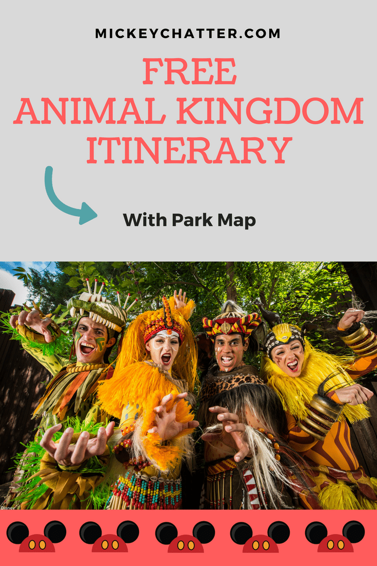 FREE Animal Kingdom Itinerary with park map - Disney World