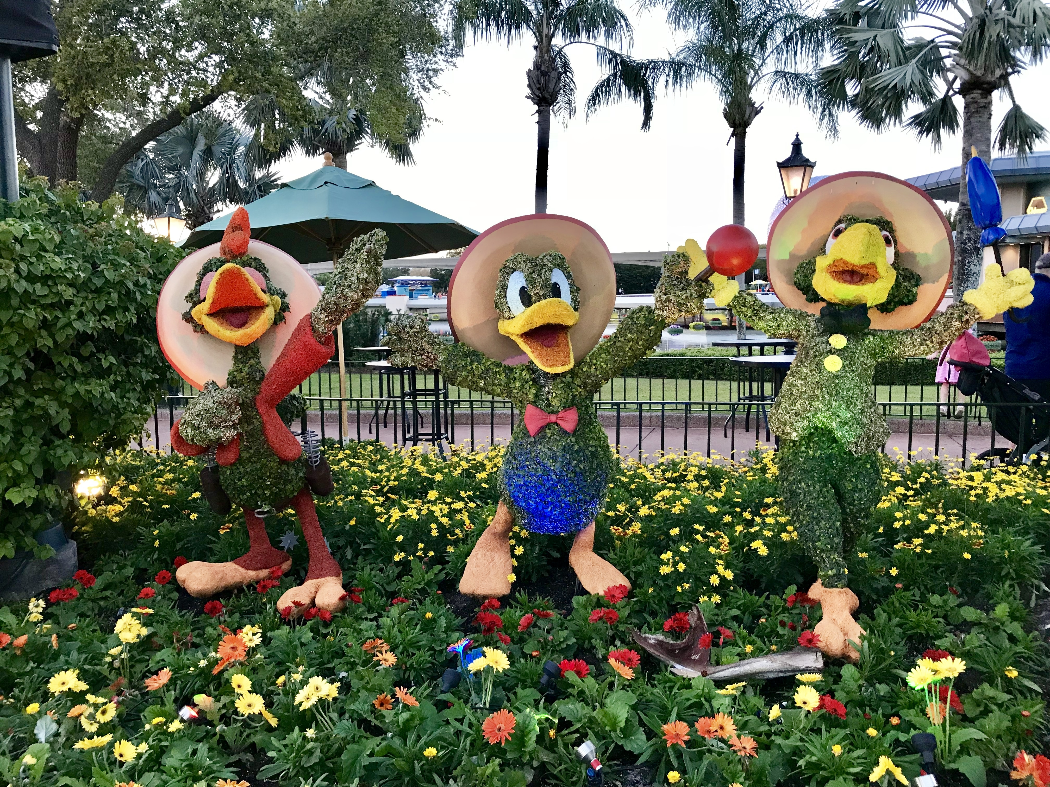 Three Caballeros at Epcot's 2018 Flower and Garden Festival