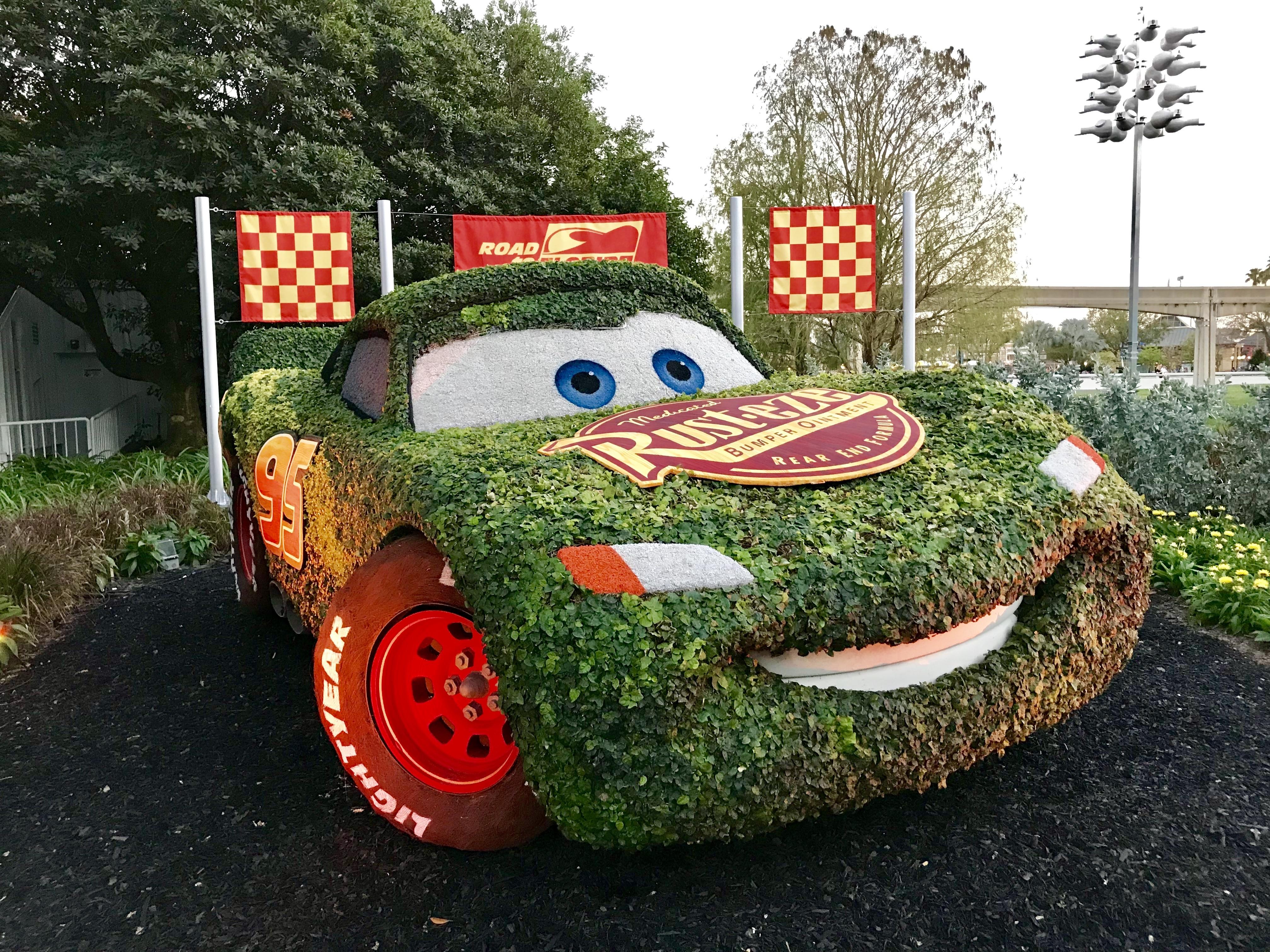 Lighting McQueen at Disney's Epcot Flower and Garden Festival 2018