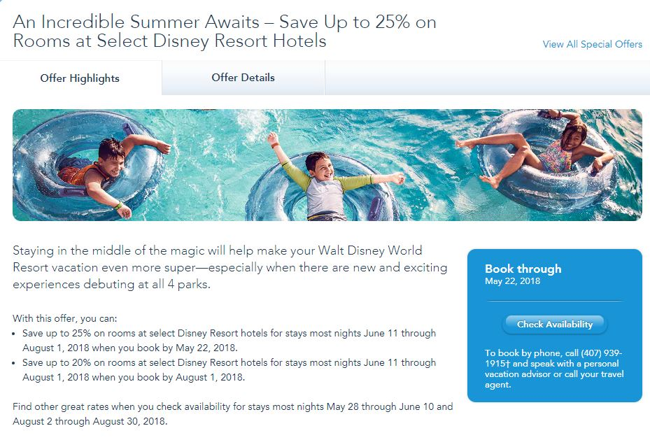 Summer offer for Disney World