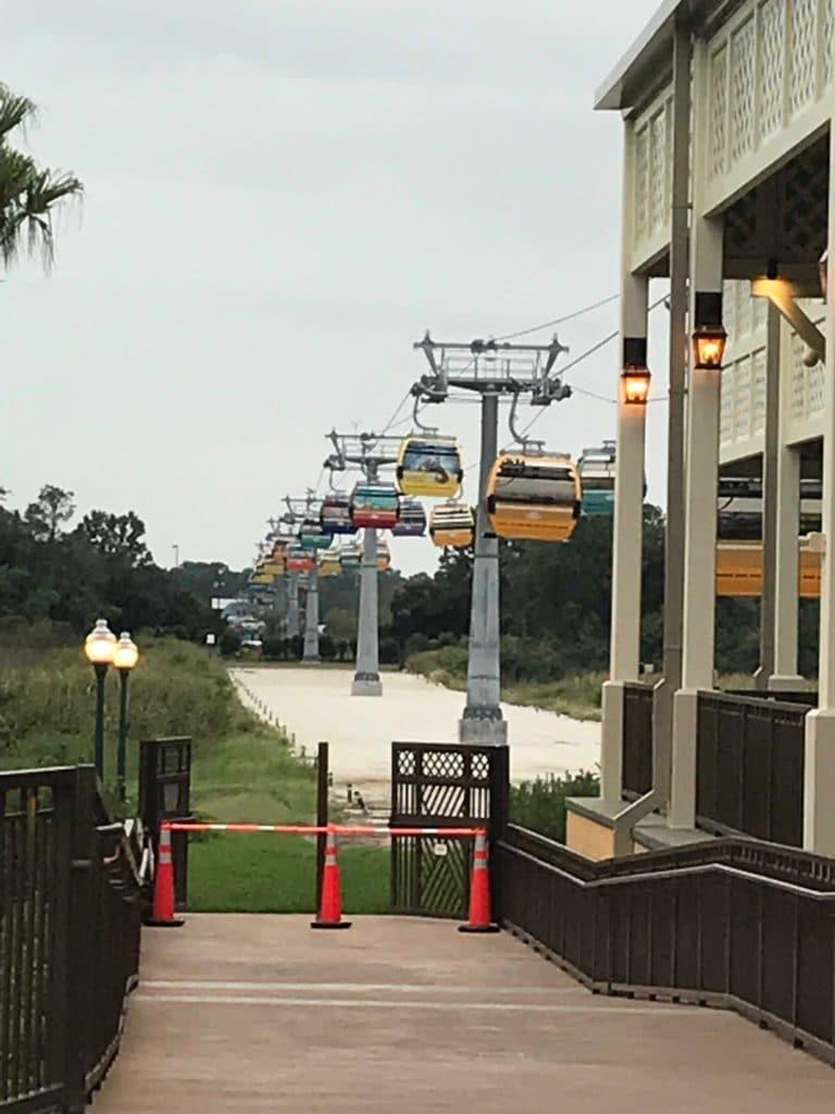 Brand new Disney Skyliner gondolas at Caribbean Beach