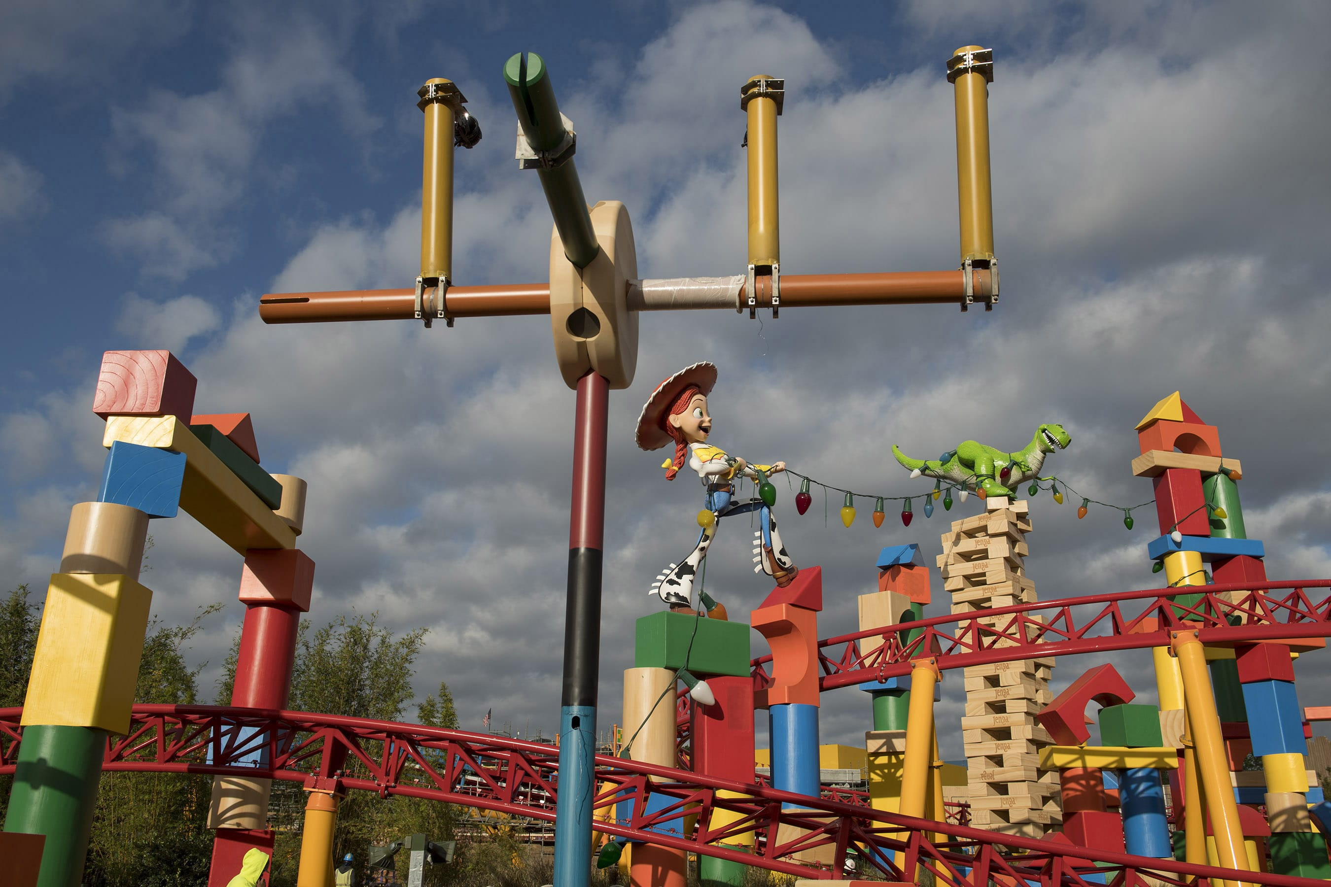 TOY STORY LAND AT WALT DISNEY WORLD RESORT (LAKE BUENA VISTA, Fla.) – Development continues on Toy Story Land, which will open June 30 at Walt Disney World Resort in Florida. Located at Disney's Hollywood Studios, this new 11-acre land will invite guests to play in the setting of Andy's backyard. Guests will whoosh along on Slinky Dog Dash, a family-friendly roller coaster, take a spin aboard Alien Swirling Saucers and score high on the midway at Toy Story Mania! (David Roark, photographer)
