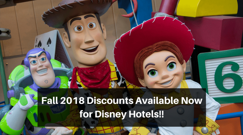 Fall 2018 Disney hotel discounts are out now, don't miss out! #disneydiscounts #disneydeals #disneyworld #disneytrip #disneyvacation #disneyhotels