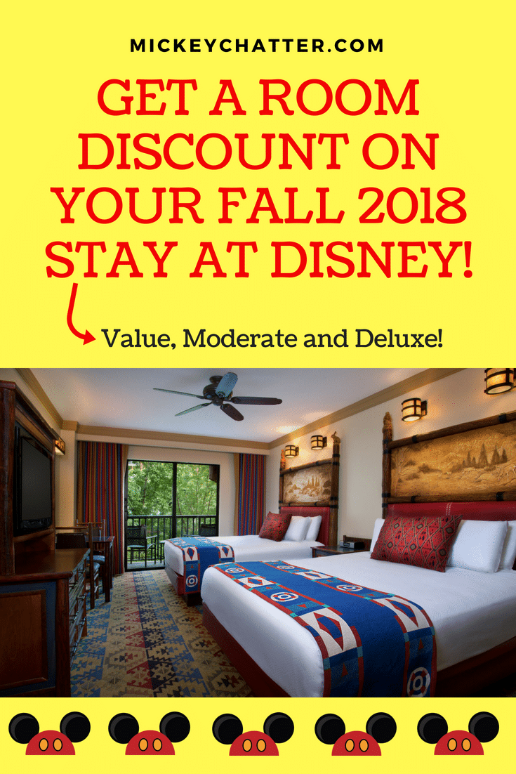 Make sure you know about the Fall 2019 Disney discounts so that you can get the best deal on your hotel stay at Disney World! #disneyworld #disneytrip #disney2018 #disneyvacation #disneyhotel