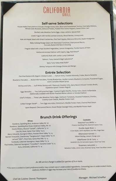California Grill Sunday Brunch Menu
