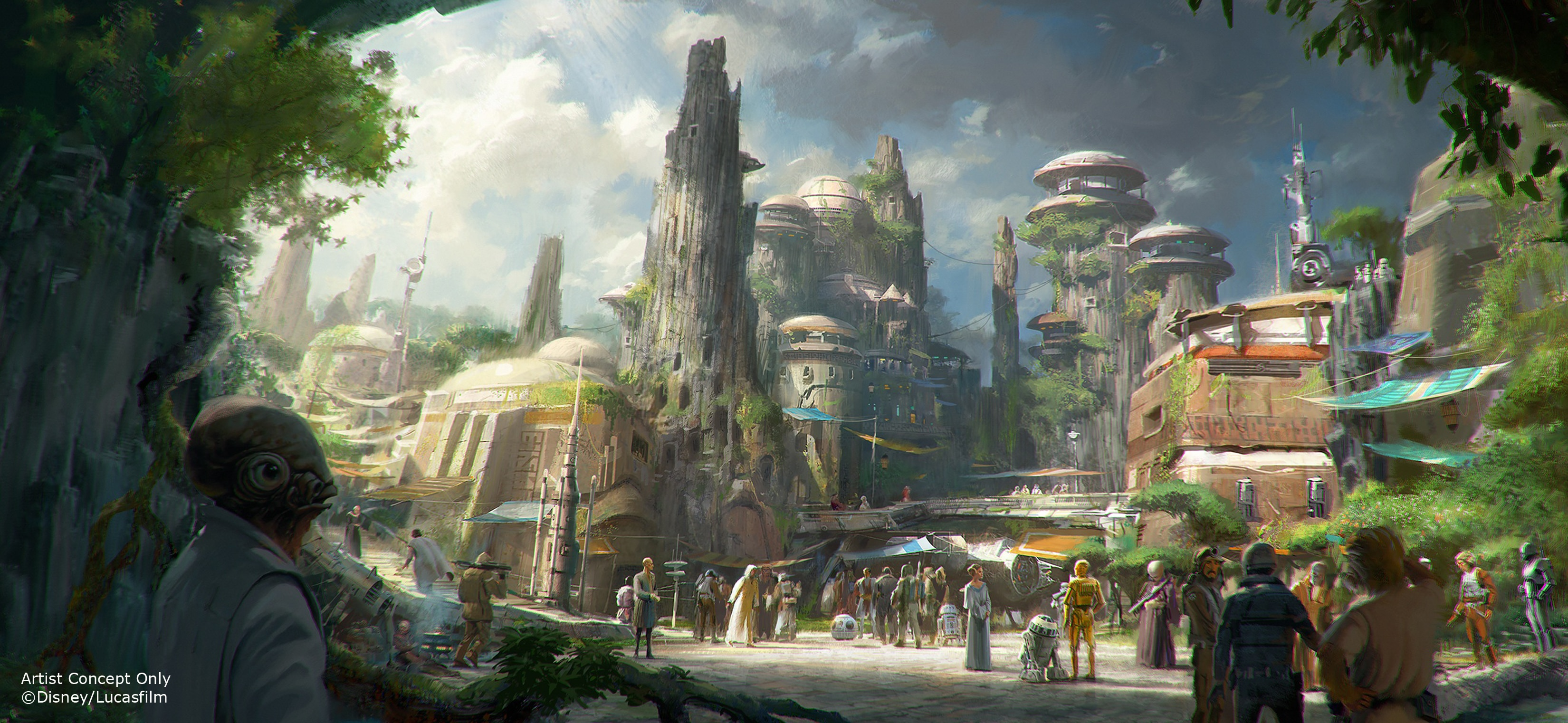 Galaxy's Edge right outside of the Disney star wars hotel