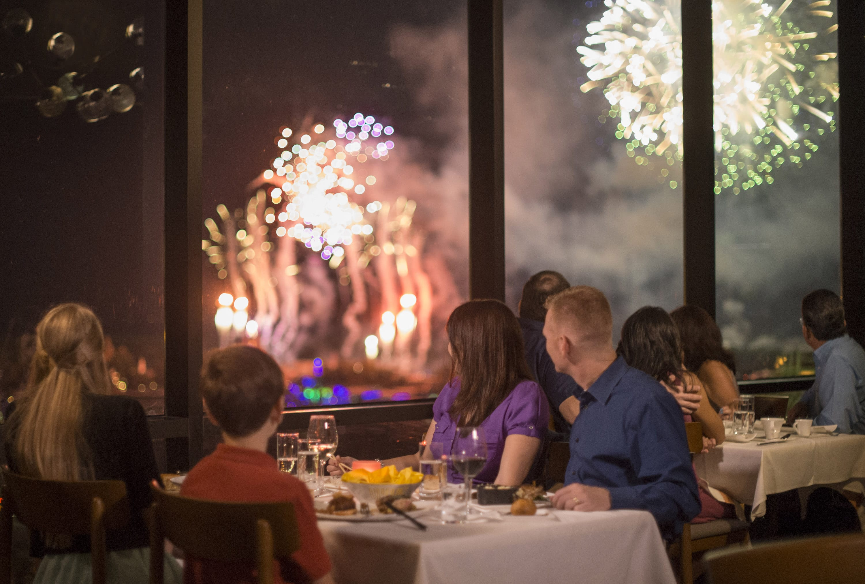 Dining at California Grill with a view of the Magic Kingdom Fireworks