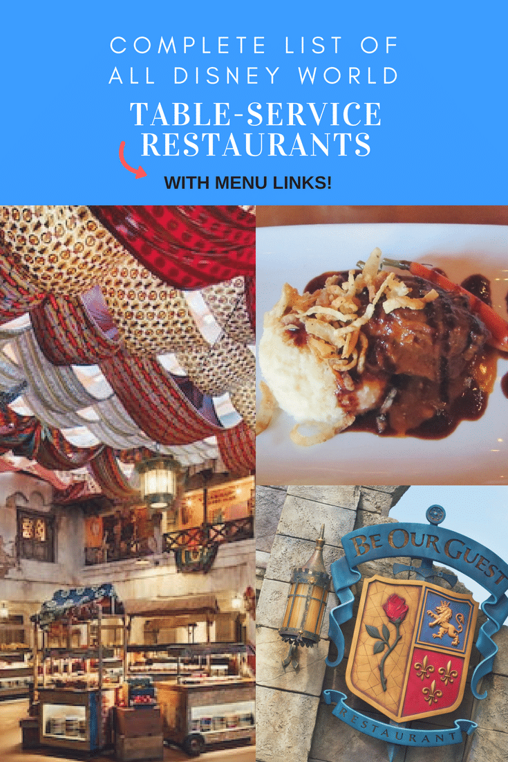 A complete list of all Disney World table-service restaurants on property - with menu links! #disneyworld #disneytrip @disneyvacation #disneydining #disneyfood