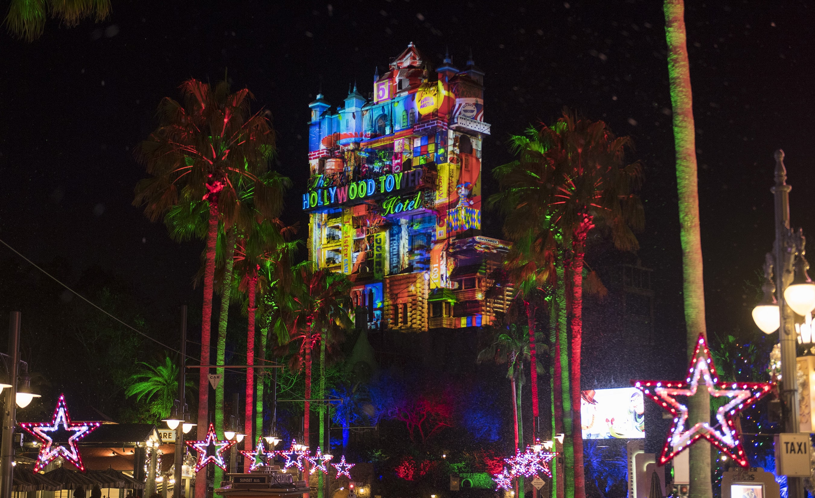Sunset Seasons Greetings on Tower of Terror