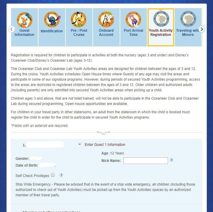Youth activity registration for Disney Cruise Line's Online Check-In
