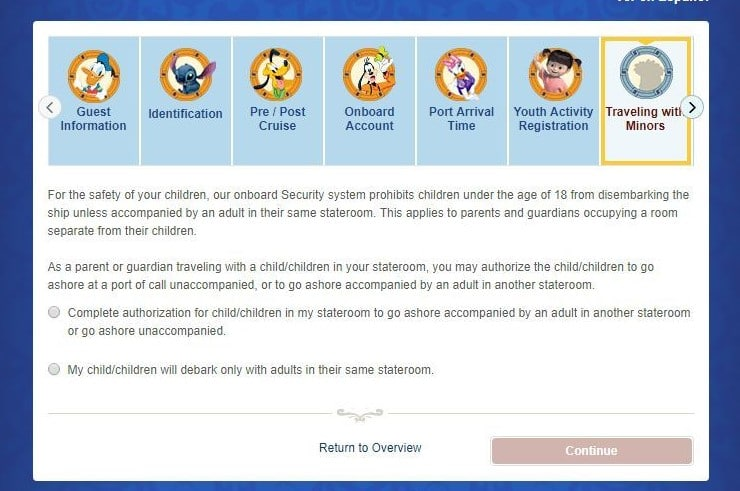 Disney Cruise Line Online Check-In traveling with minors section