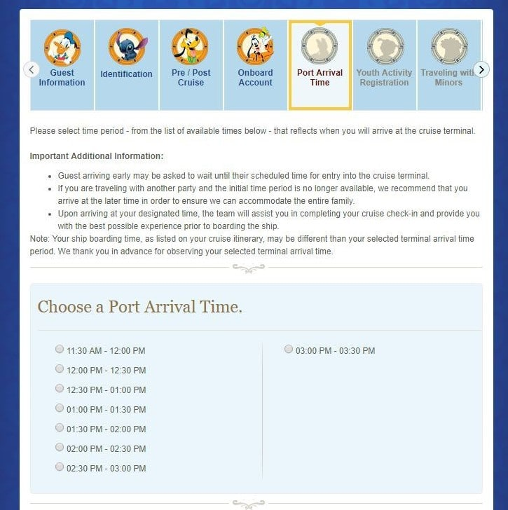 Selecting port arrival time on Disney Cruise Line Online Check-In
