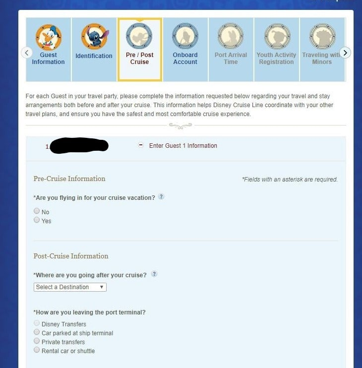 Disney Cruise Line Check-In Pre and Post Stay Page