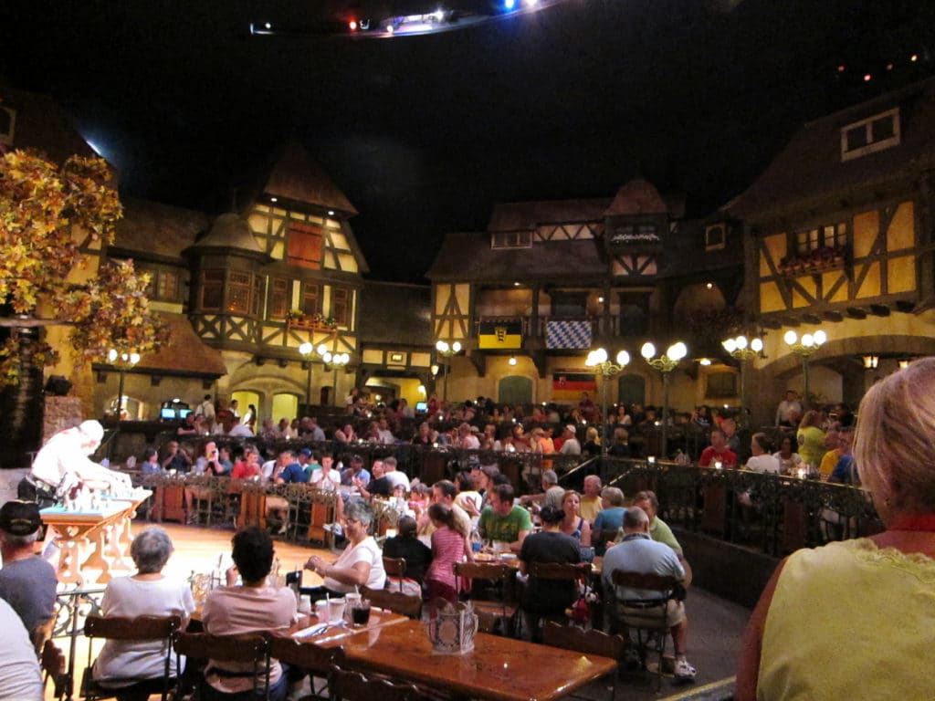 Biergarten table-service restaurant at Epcot in Germany #disneyworld #epcot #biergarten #worldshowcase