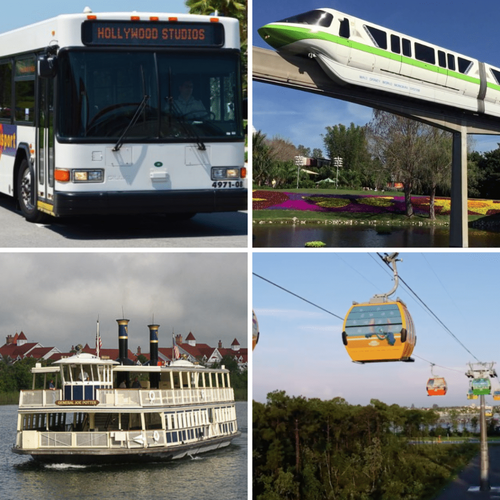 All the transportation options you have when staying at a Disney World resort #waltdisneyworld #disneyworld #disneytransportation #disneyskyliner #disneymonorail #disneybuses #disneytransport #magicalexpress #disneyboats #travelagent