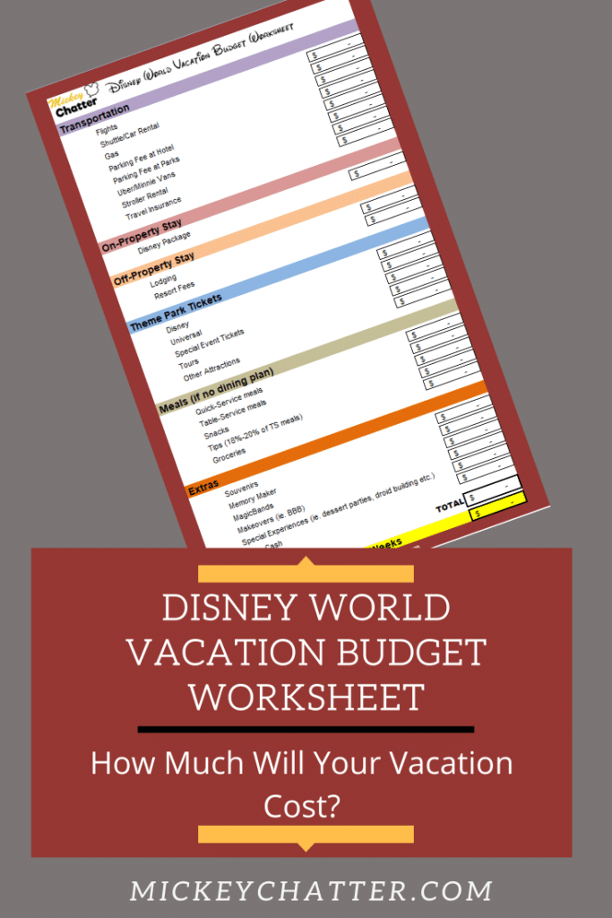Disney World budget planning worksheet, download this FREE spreadsheet to calculate your vacation budget and much much you will need to save! #disneyworld #disneyplanning #disneytrip #disneyvacation #travelagent #disneybudgeting