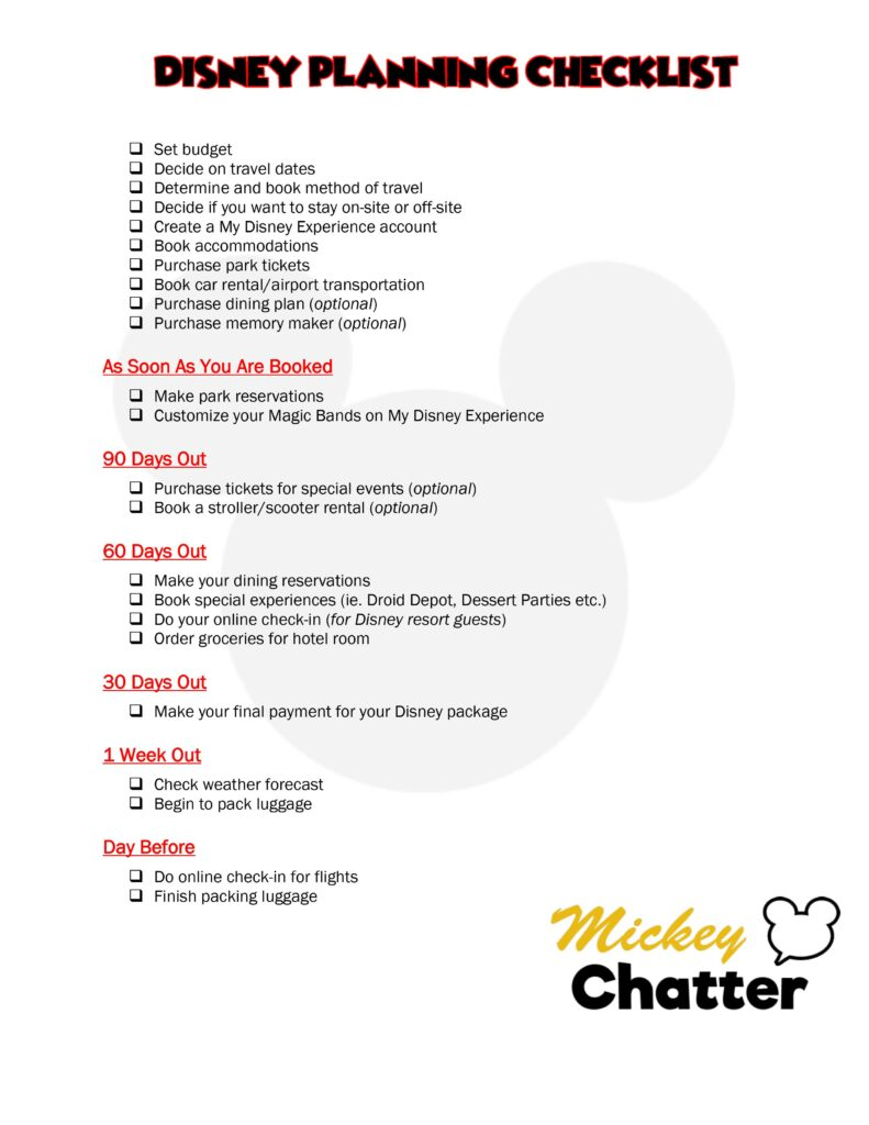 A Disney planning checklist to help you make sure you have completed all steps required in planning your Disney vacation